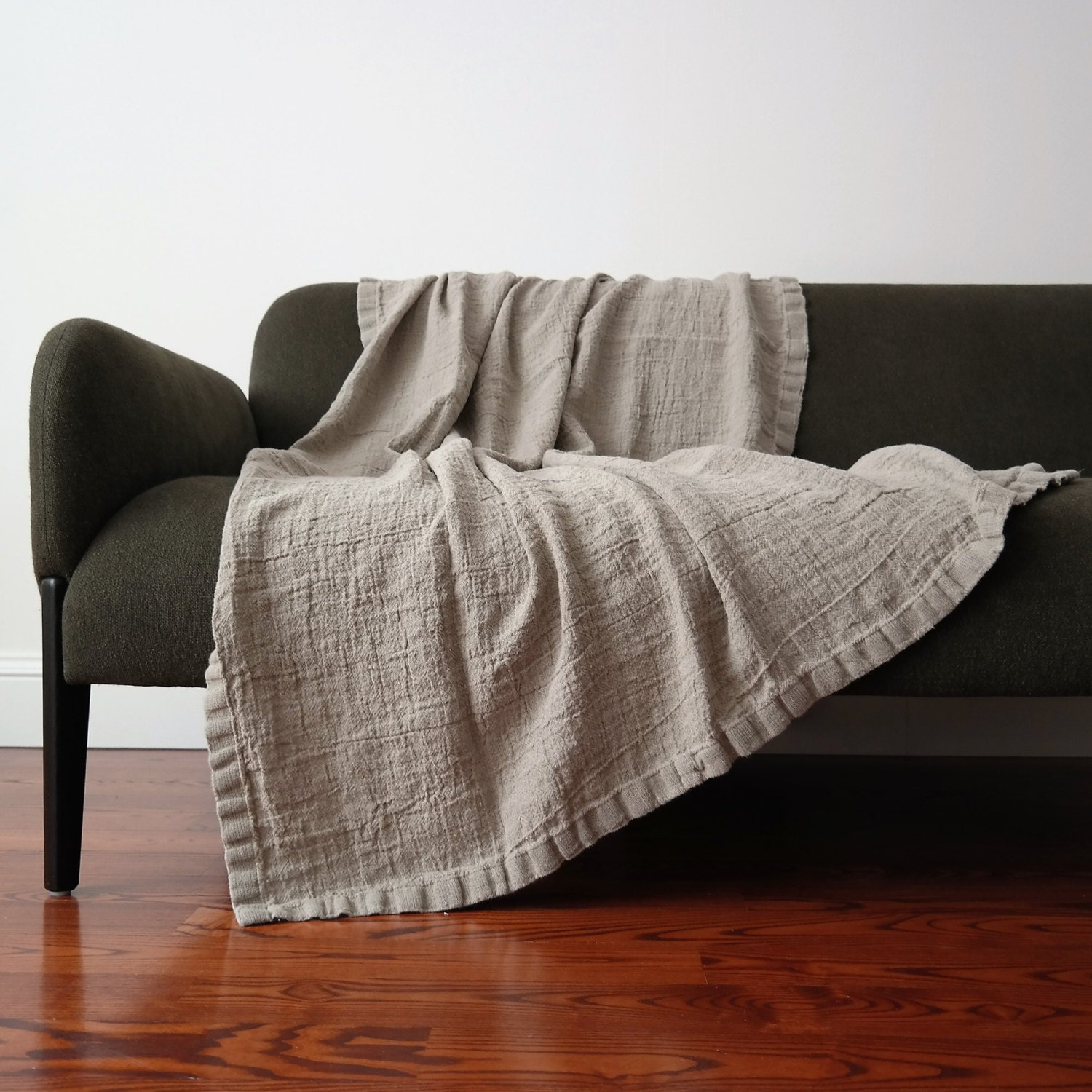 Linen Blanket Rustic Linen Bed Throw Bedspread Raw Washed