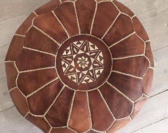camel leather pouf brown moroccan poufleather ottomanpouf decor - Brown Leather Ottoman