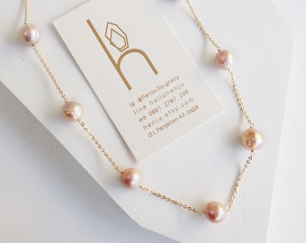 Long Fresh Water Pearls Necklace, June Birthstone Chain Necklace, Long Layering Pearls Necklace, Gold,  Wire Wrapped Peach Pearls
