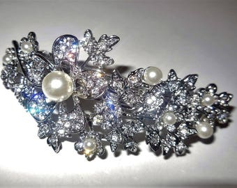 Hair Clip Rhinestone White Pearls Silver Tone Metal Floral Design Bridal Hair Accessories Prom Wedding Special Occasion Evening Formal Wear