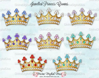 Princess Crowns Jewels Gold | Diamond Pink Turquoise Mint Purple Red Blue Lavender | Digital Clipart Instant Download