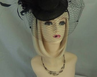 Artisan Black fascinator hat head band veil hair piece hat wedding ladies day races fashion designer party dress rose bow topper one off