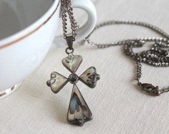 Vintage Silver Cross Necklace, Mexican Mosaic Jewelry, Mother of Pearl, Abalone Shell