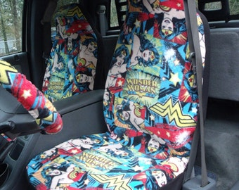 1 Set of DC Wonder Woman Print,  Car Seat Covers, and steeling wheel cover custom made.