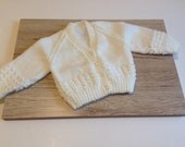 Handknitted Baby Cardigan, Baby sweater,  3-6 months old, White Baby Cardigan, Traditional Baby Gift, Baby girl