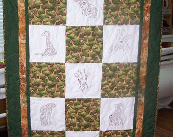 "Giraffe, Embroidered Block, Couch Quilt, 63"" X 43""."