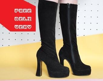 90s TALL boots GOTH boots PLATFORM boots monster boots grunge boots chunky boots plateau boots suede boots // Size 7.5 us / 5 uk / 38 eu