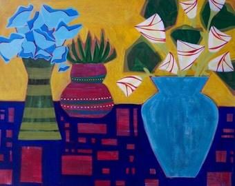 Still life flowers on table, print of original painting