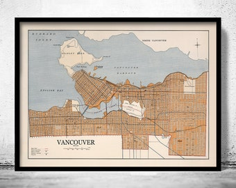 Old Map of Vancouver Canada 1915