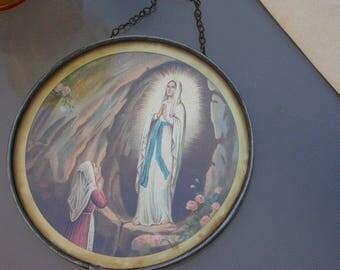 French antique religious notre dame Lourdes sculpture  reliquary our lady souvenir Notre dame de Lourdes gothic glass  frame