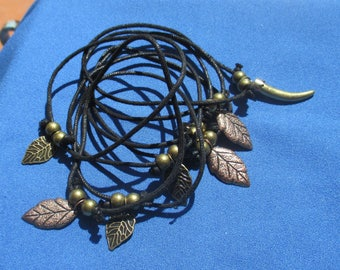 Lot Of Retro Black Rope Leaf Talon Drawstring Bracelets