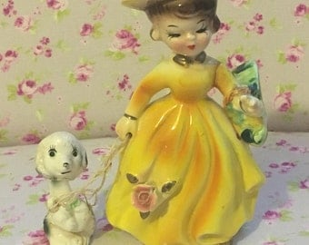 Vintage Lady And Her Poodle Figurine