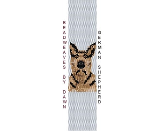 Peyote Bracelet Patterns, Beading Instructions, Shepherd peyote bracelet, Bead Patterns, Beadwork Pattern, Peyote Stitch patterns, dog pat