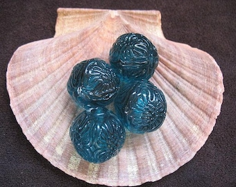 Vintage Lucite Beads Teal Patterned  Round  20mm - Four pieces