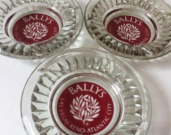 Set of 3 Vintage Glass Ashtray's from Bally's Resort