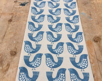 Table Runner, blue bird table runner, scandinavian fabric