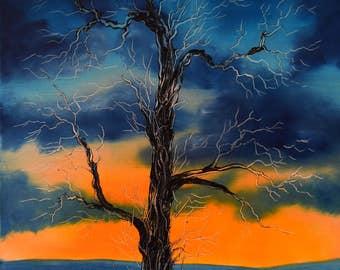 Black tree against stormy sunrise - Original Oil Painting