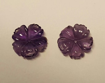 Amethyst Carved Earring Jackets 15mm