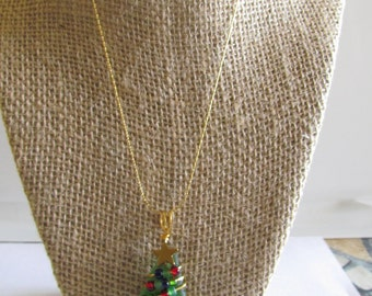 Sea Glass Christmas Tree Pendant with Chain