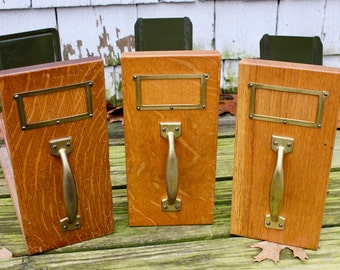 Vintage Wooden Vertical File Drawers