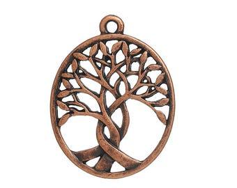 5 Charm Pendants - TREE OF LIFE - Antique Copper - 31 x 24 mm - Sacred Tree