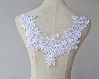 Super Luxury Lace Applique White Exquisite Lace Applique For Wedding Dress Grown Bridal Veil Bodice 1 Pcs
