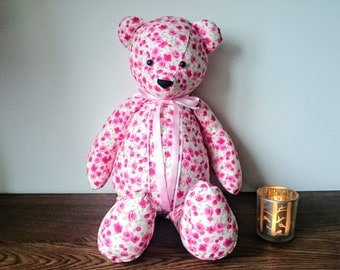 Rosey the Teddy Bear - pink roses fabric