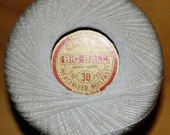 Clark's - Vintage White Crochet Thread - Size 30 - 16 Spools - Ships 2 USA