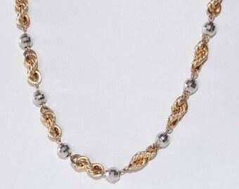 "4mm 18"" Station Necklace 14k 2Tone gold - sku 2751l2"