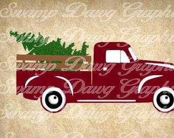 Christmas svg, vintage truck svg, vintage christmas truck svg, silhouette, cricut, decal, vinyl, digital file, christmas tree, tree farm svg