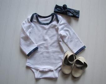 50% OFF - Sale - Infant Onesie - Baby Outfit - Baby Girls Shirt - Bodysuit - Tiny Dancer Midnight Art Gallery - Made 4U Handmade Designs