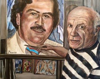 "Pablo Picasso paint Pablo Escobar 16"" x 20"" original acrylic painting"