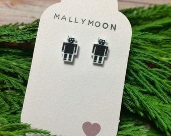 Miniature jewelry, robot themed, Mini Robot earrings