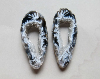 A Pair Natural Druzy Agate Geode Slices C4485