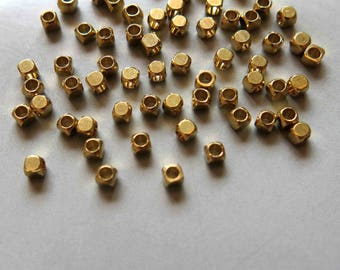 300pcs Raw Brass Square With Rounded Corners Beads Spacer Beads 2.5mm - F375