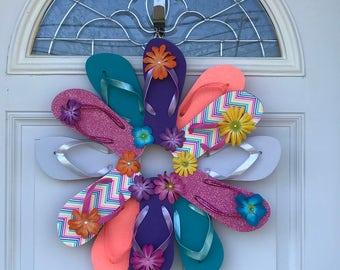 Beach Wreath / Flip Flop Wreath / Summer Wreaths for Front Doors
