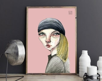 K L A R A , illustration art . Giclée print on archival paper. 40x50 cm Poster. Signed by artist.