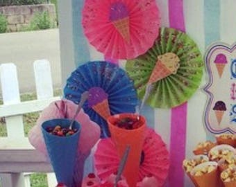 icr cream party paper fans with real sprinkle topping accents