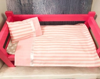 Doll Bedding, 18 Inch Doll Bedding, Pink and White Stripe Bedding, Includes Pillow, Pillow Case and Sheet