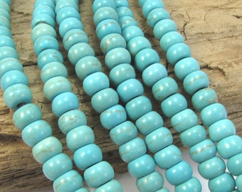 Magnesite Beads, 6x4mm Rondelle Blue-Green Bead Strand, 15 inch Magnesite Strand, Item 1284gsm