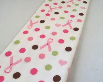 """Flannel Pink Ribbon Breast Cancer Awareness Fabric with Polka Dots 18"""" Long 42"""" Wide"""