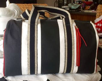 Dallas Duffel Bag, Small Duffel Bag, Black Strip duffel Bag, Small Travel Bag, Carry-On Bag, Tote Bag, Diaper Bag
