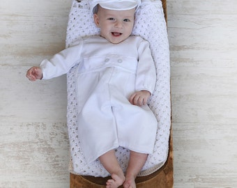 White Christening Jumpsuit George with Cap