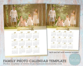 2017 Family Calendar Template  -  Printable Photoshop Template - GG013 - INSTANT Download