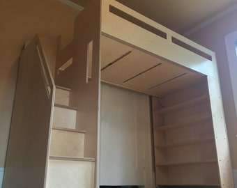 Loft Bed With Storage Shelves And Staircase
