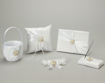 White satin wedding set with pearl and diamond accents, guest book, ring bearer pillow, flower girl basket, garter, pen