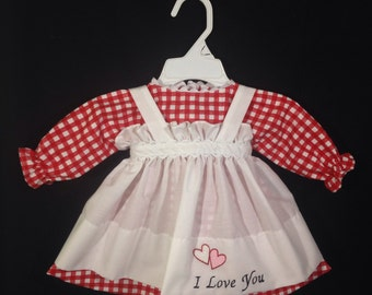 Dress and Apron for 25 inch Raggedy Ann Doll, Red and White Check Print Dress, Embroidered Apron