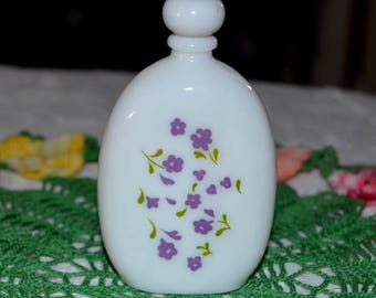 Vintage Avon Lavender Cologne Mini Milk Glass Bottle