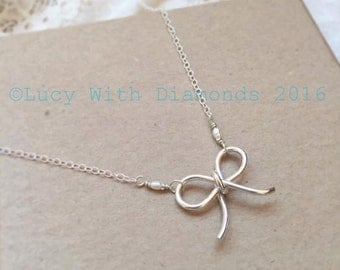 Sterling silver and freshwater pearl bow necklace ideal for Bridesmaid Gift