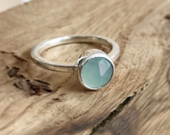Blue Chalcedony sterling silver stacking ring